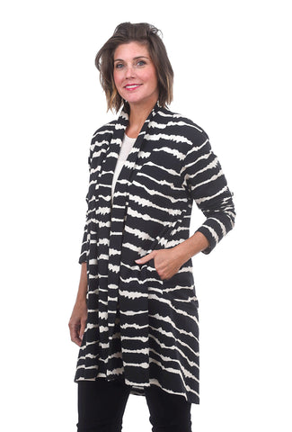 Wave Stripe Long Cardie, Black/White