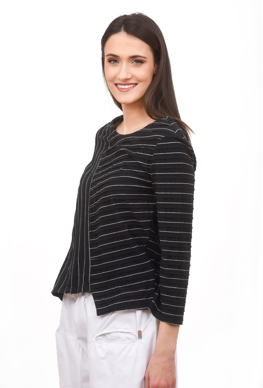 Tuck Micro-Stripe Tee, Black