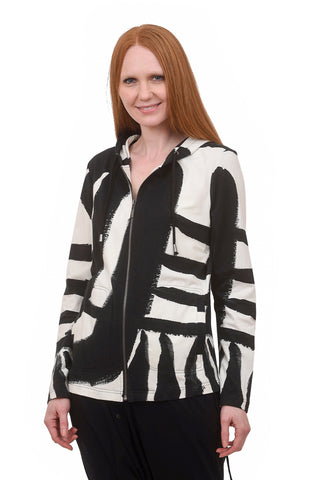 High-Contrast Knit Jacket, Black/White