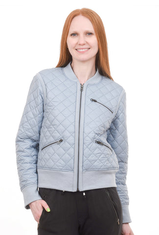 Zip Front Bomber Jacket, Blue