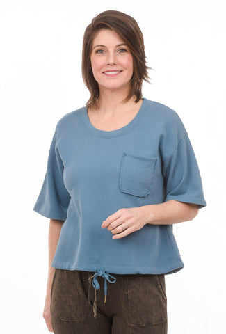 Fleece Drawstring Top, Blue Quartz