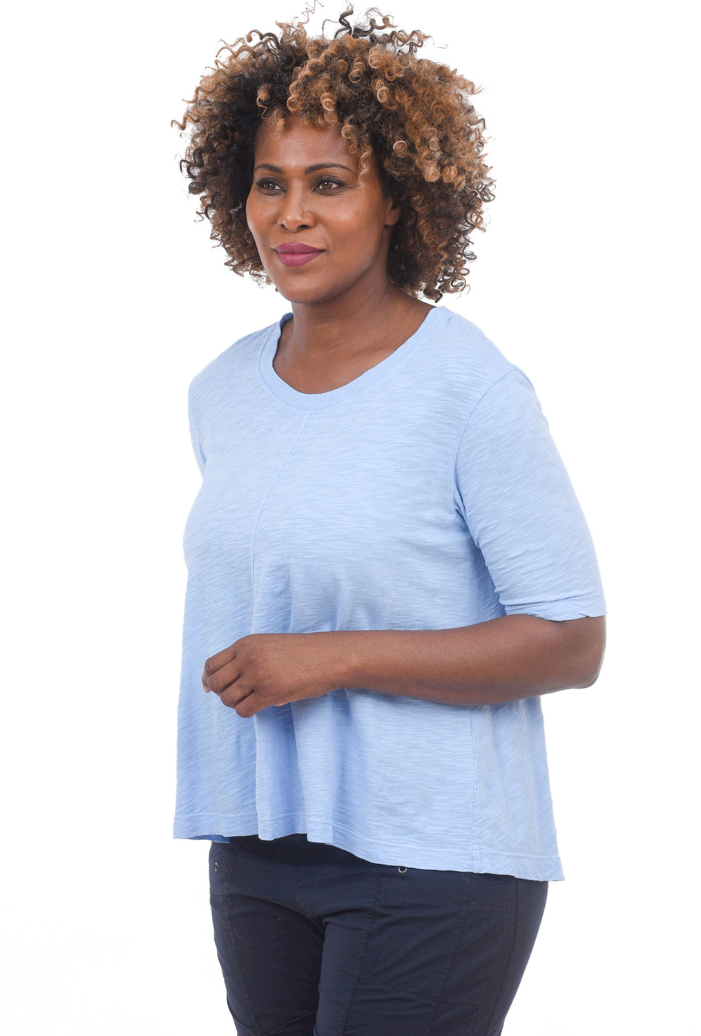 Elbow-Sleeve Trapeze Tee, Horizon Blue