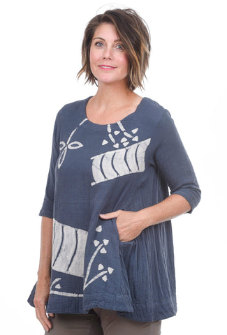 Cotton Gauze Elbow Top, Slate