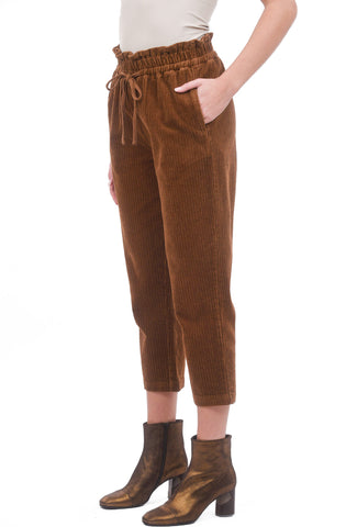 Cord Paper-Bag Pants, Rust