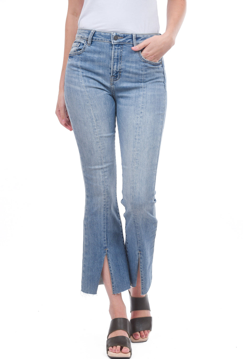 Front-Slit Flare Denim, Blue