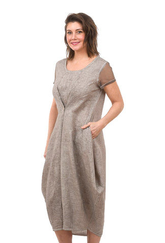 Mesh Sleeve Linen Dress, Beige