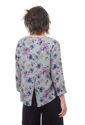Summer Breeze Split Back Top, Overcast Gray