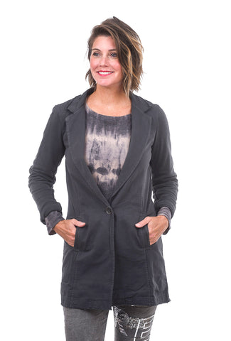 Raw-Hem Paneled Blazer, Cement