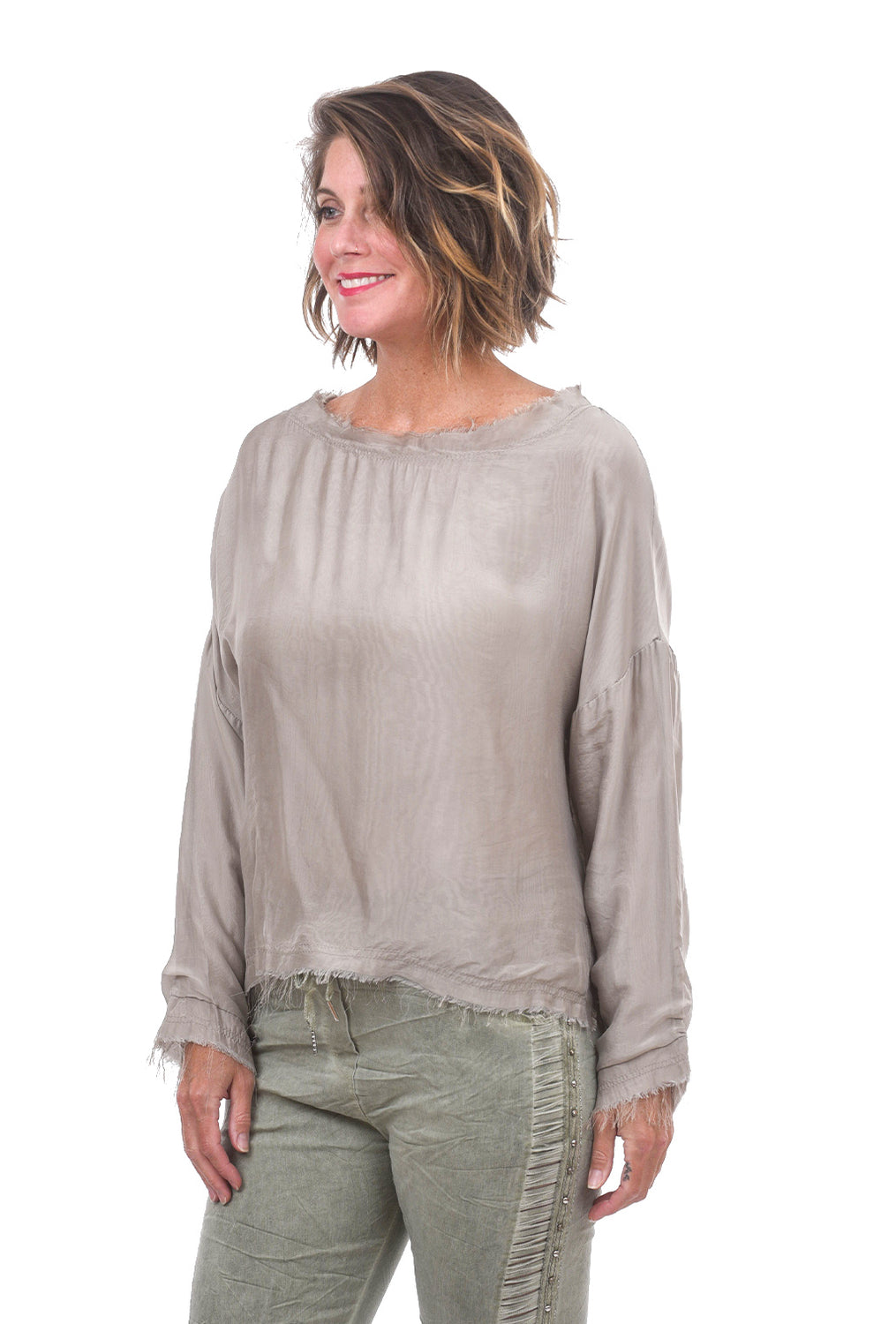 Frayed-Edge Silky Top, Beige