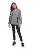 Ruched-Sleeve Sweatshirt, Gray