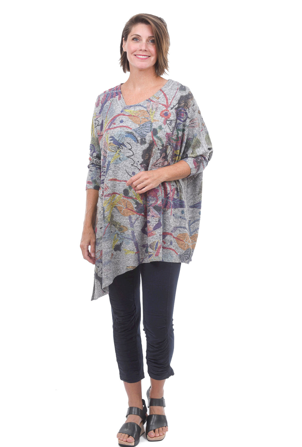 Plush V-Neck Print Pullover, Gray