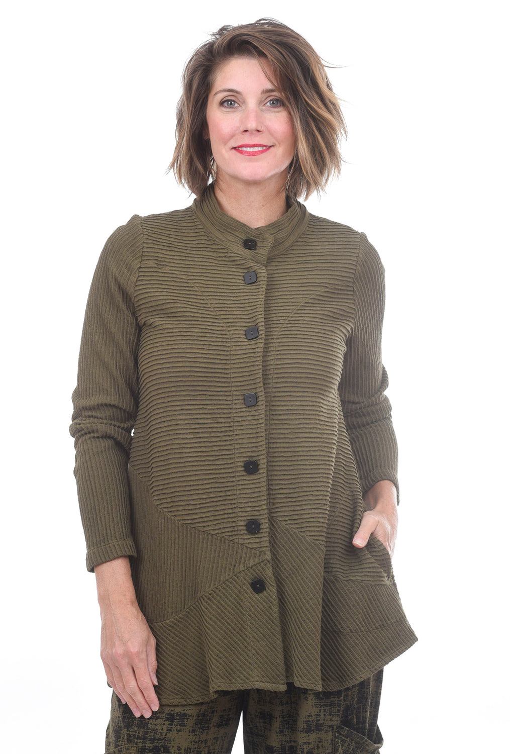 Pintuck Jacket, Olive