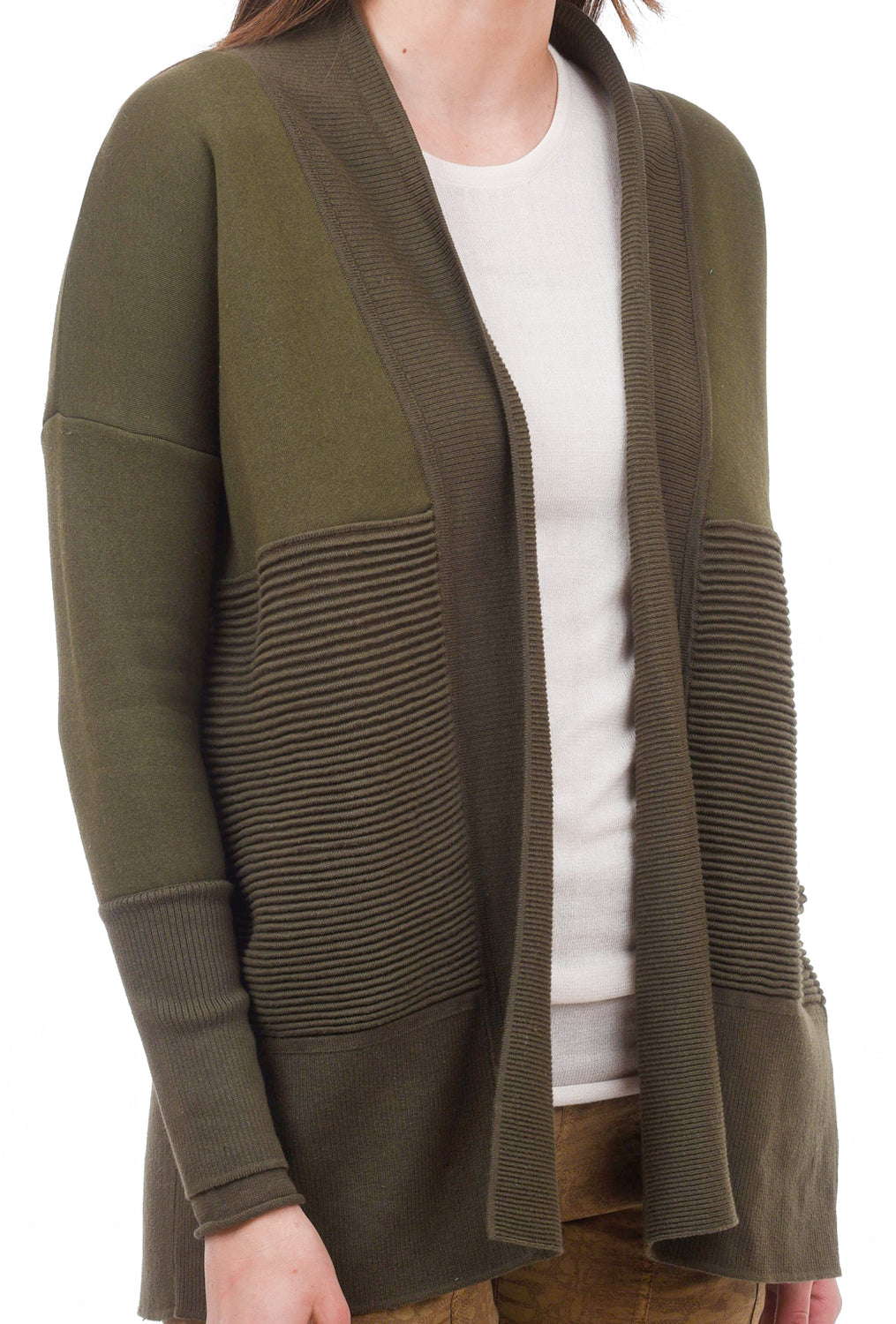 Flipside Fleece Cardigan, Military Green