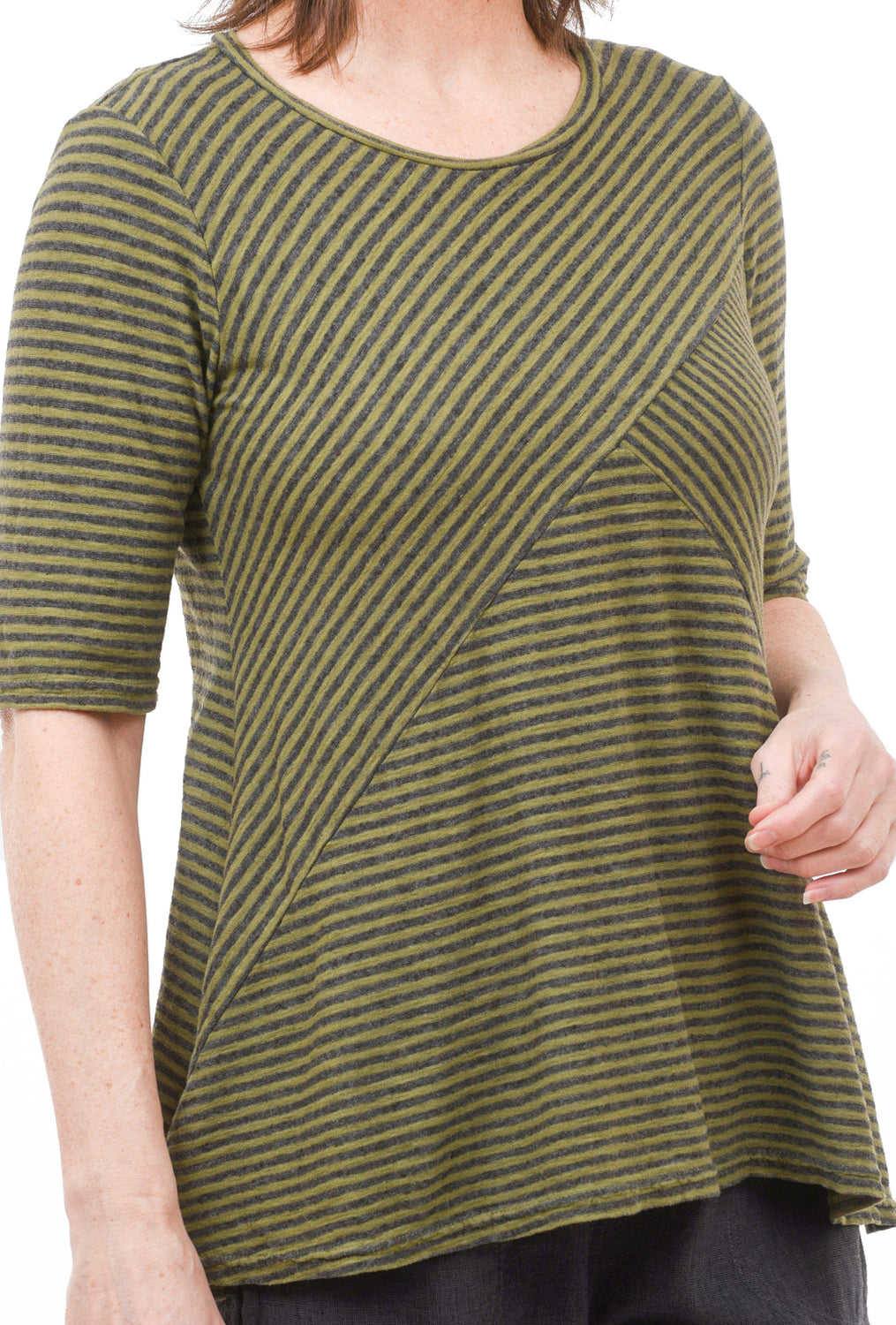 Char Stripe Swing Top, Jungle