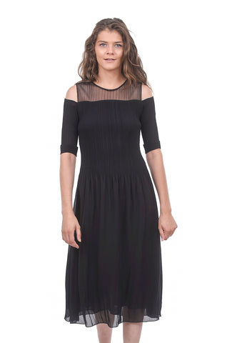 Cold-Shoulder Opera Dress, Black