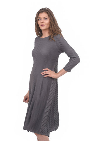 L/S Crinkle Dress, Gray