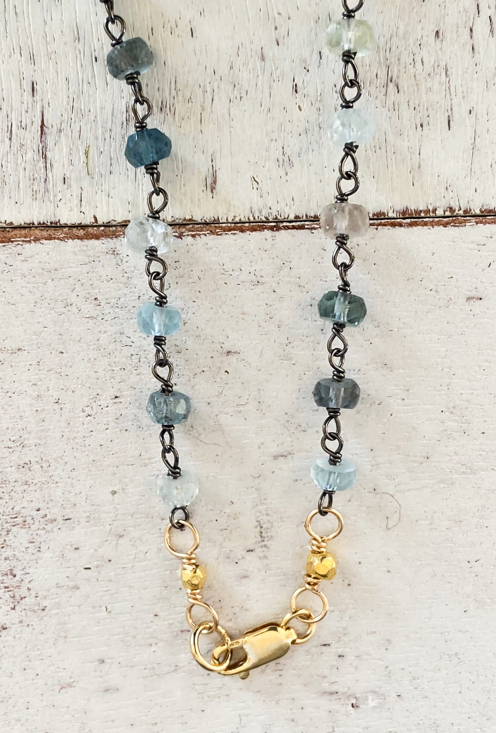 Moss Aqua Beaded Chain/Pendant Necklace