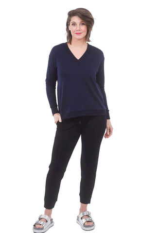 Dean V-Neck Top, Navy