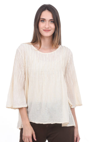 Smock-Pleated Blouse, Cream