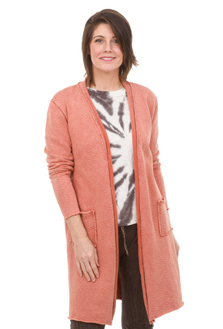 Terry Open Front Long Cardigan, Red Jasper