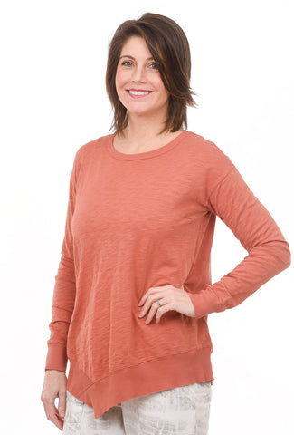 Uneven Hem Easy Tee, Red Jasper
