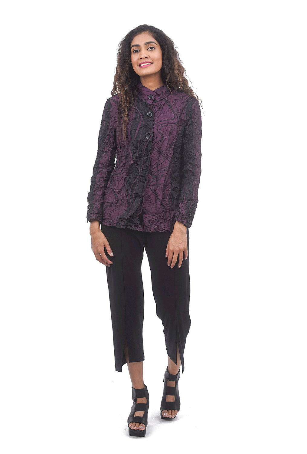 Scrunch Print Girlfriend Shirt, Plum