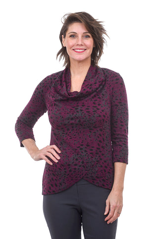 3/4 Sleeve Cowl Neck Top, Radish