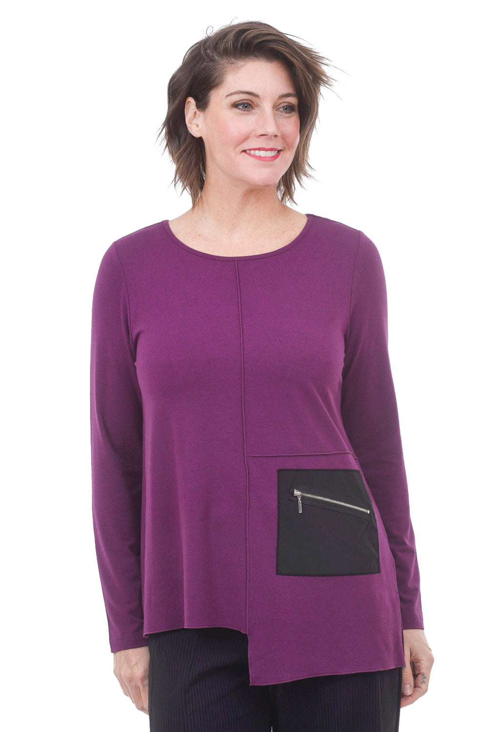 Heather Knit Harper Tee, Plum