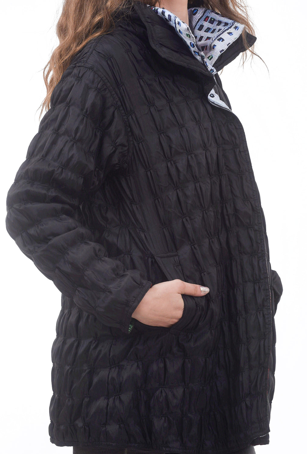 Quilted Reversible Jacket, Black/City