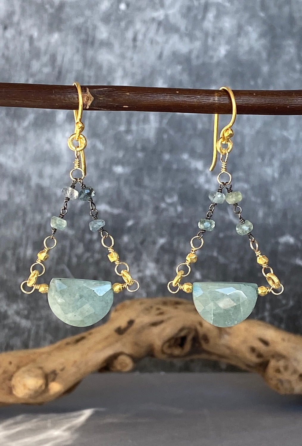 Oxidized Sterling/Aquamarine Earrings