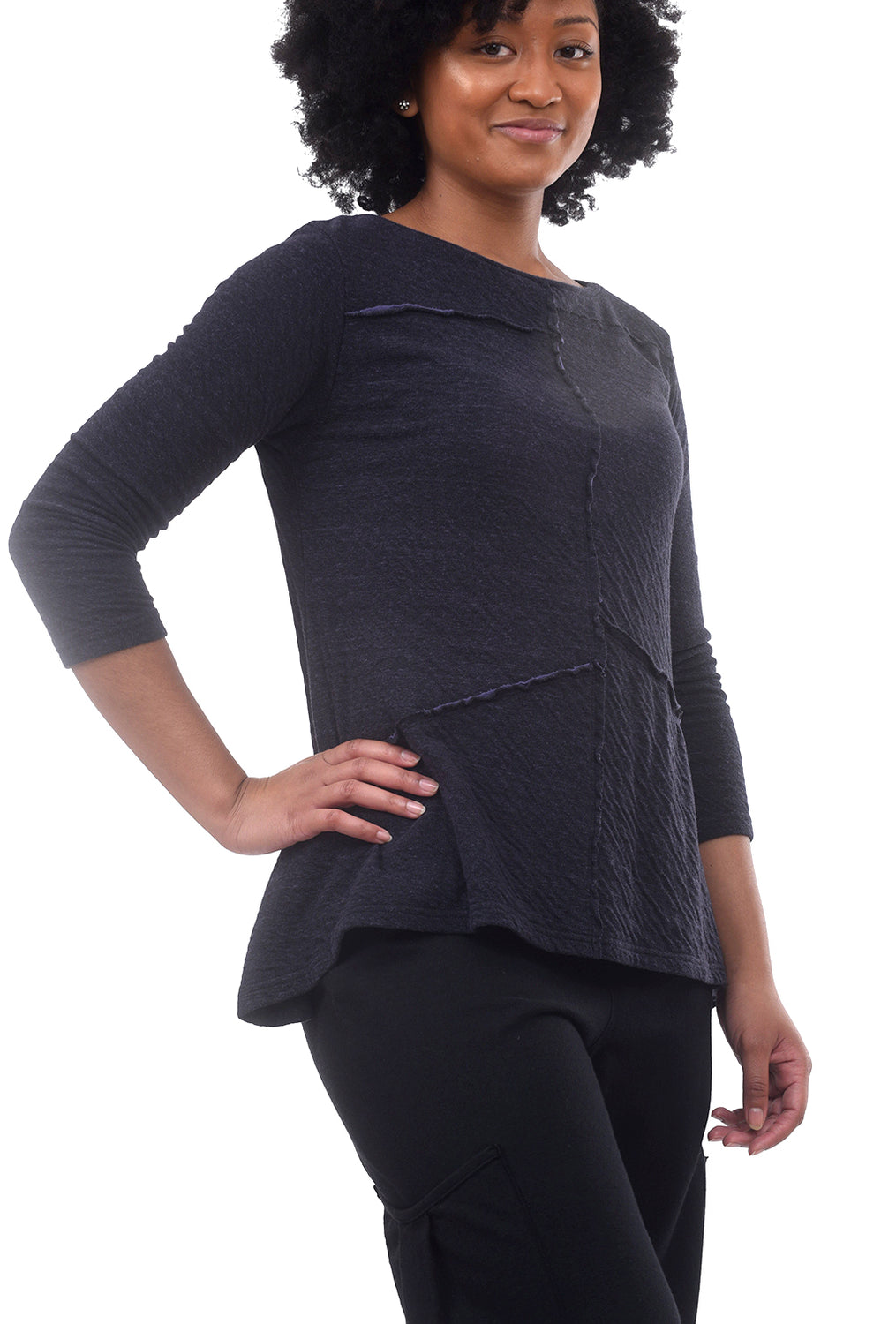 Char Double-Cloth Peplum Top, Dewberry