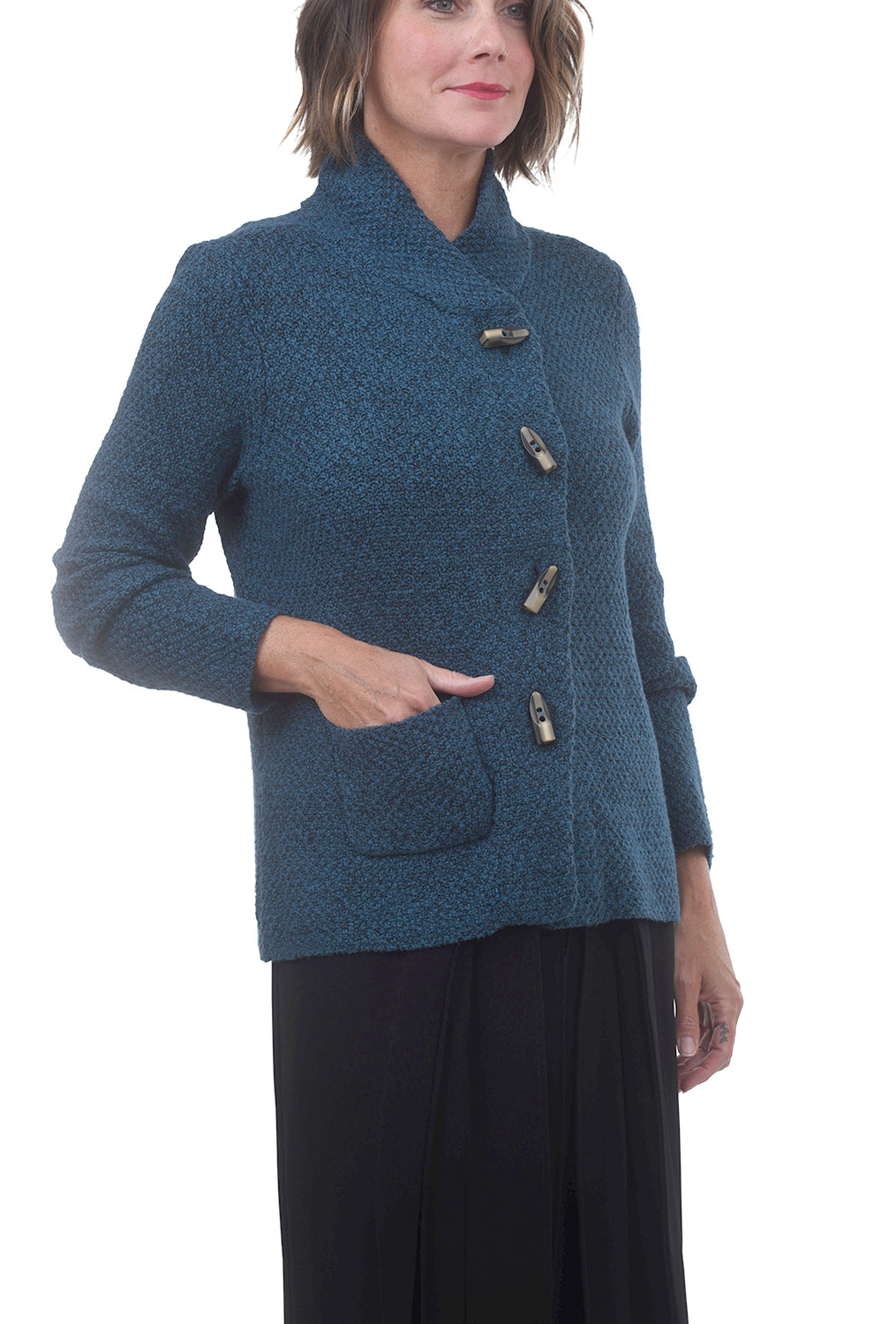 Horn-Button Cardie Jacket, Teal