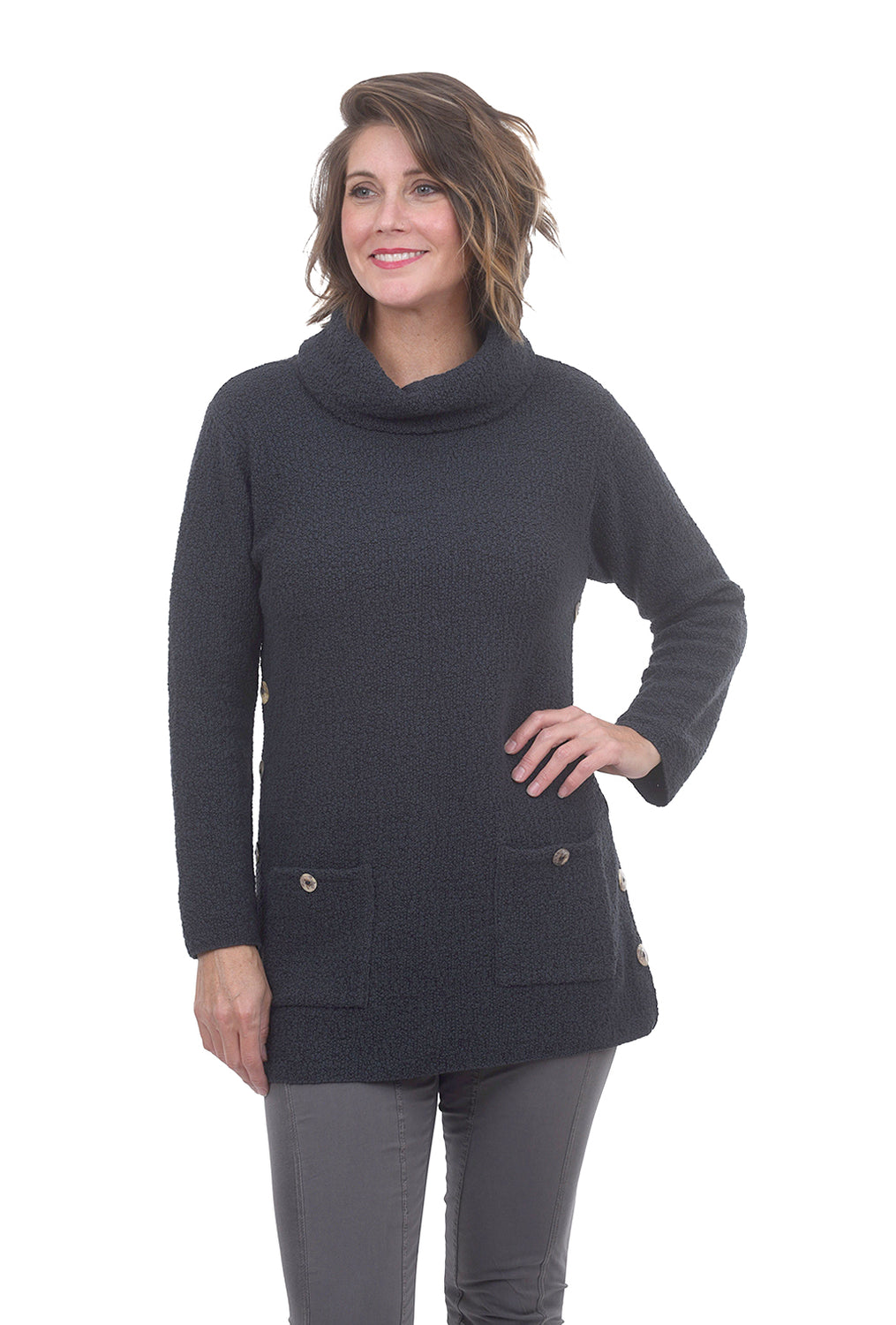 Side Button Funnel Sweater, Coal