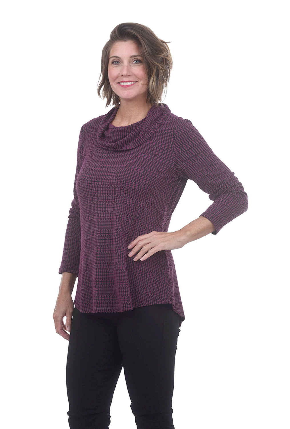 Crossroads Pucker Cowl Top, Wine