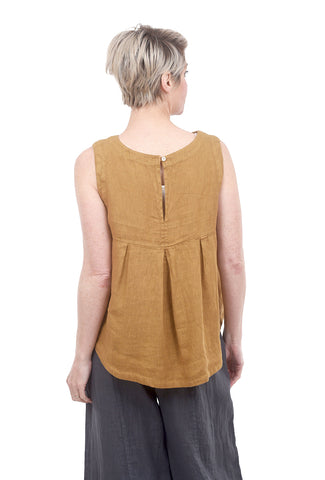 Linen Back Detail Tank, Brass