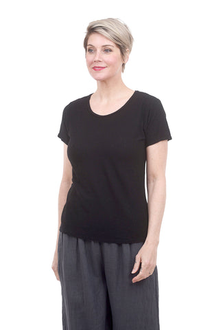 Short-Sleeve Bias Tee, Black