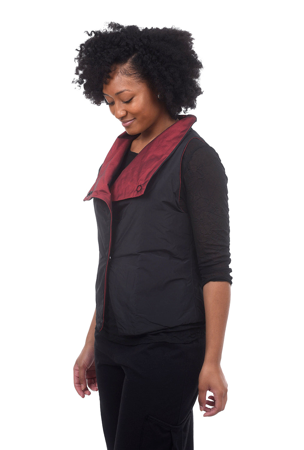 Puffer Cropped Vest, Black/Red