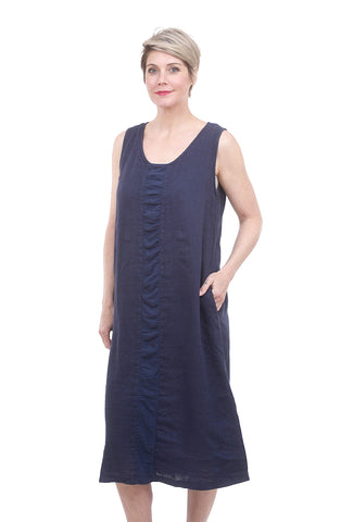 Linen Mix Placket Dress, Night Sky