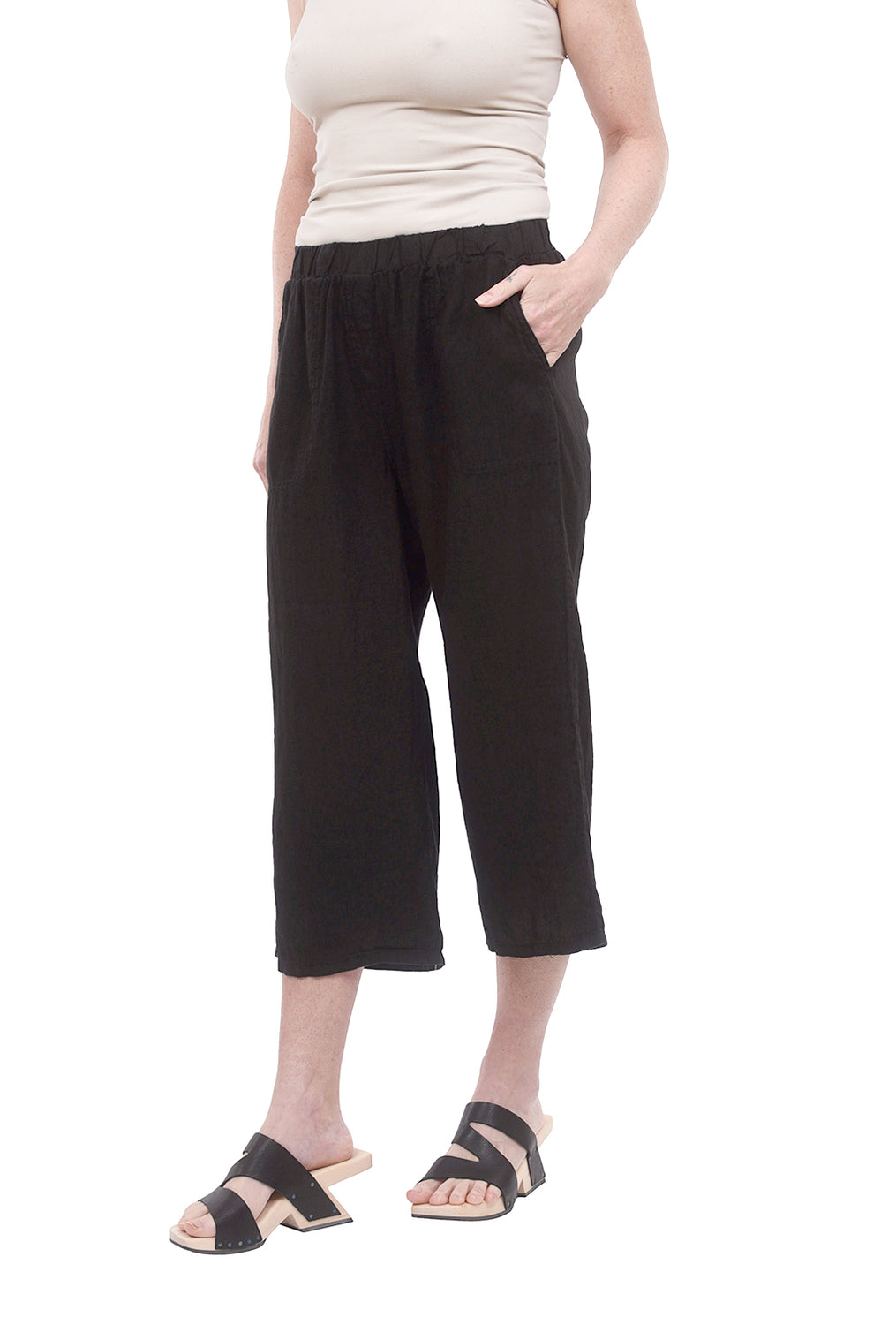 Linen Easy Cropped Pants, Black