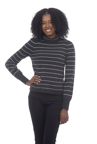 Striped Turtleneck Sweater, Graphite