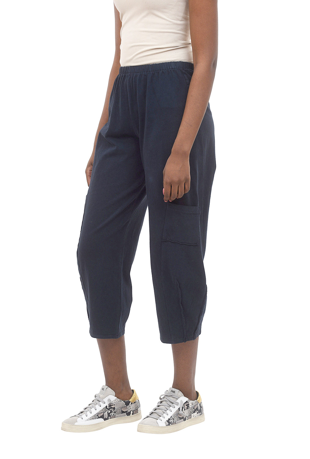 Pleat Cropped Pocket Pants, Ink