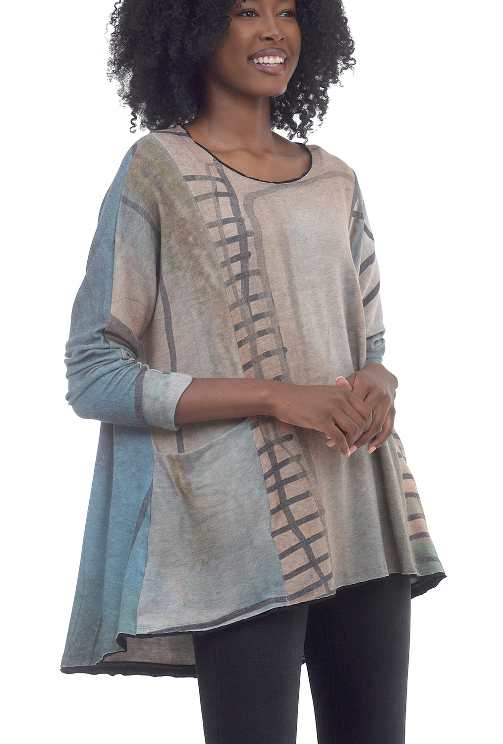 Abstract Boxy Pocket Tunic, Sage