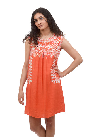 Embroidered Shift Dress, Orange