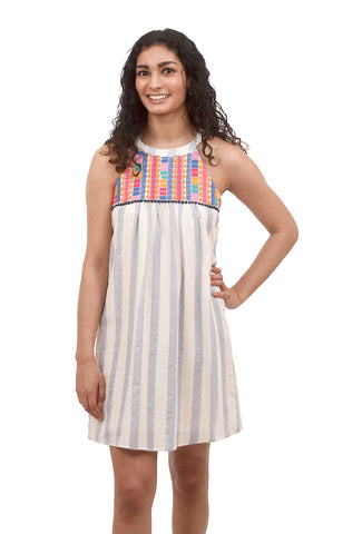 Halter Embroidered Dress, Blue