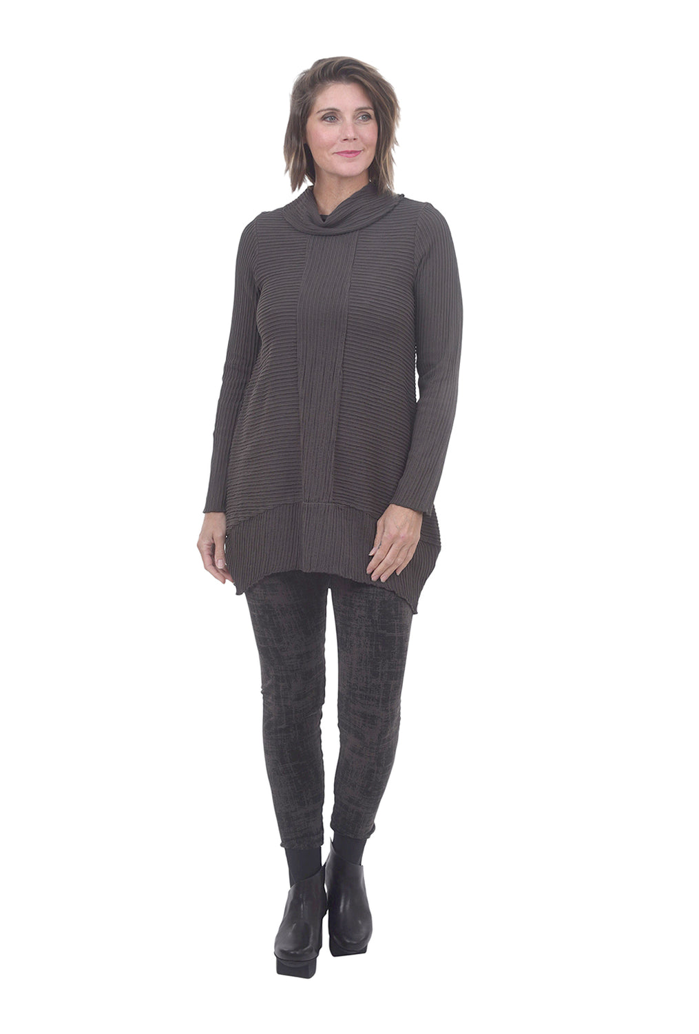 Pintuck Cotton Tunic, Dark Gray
