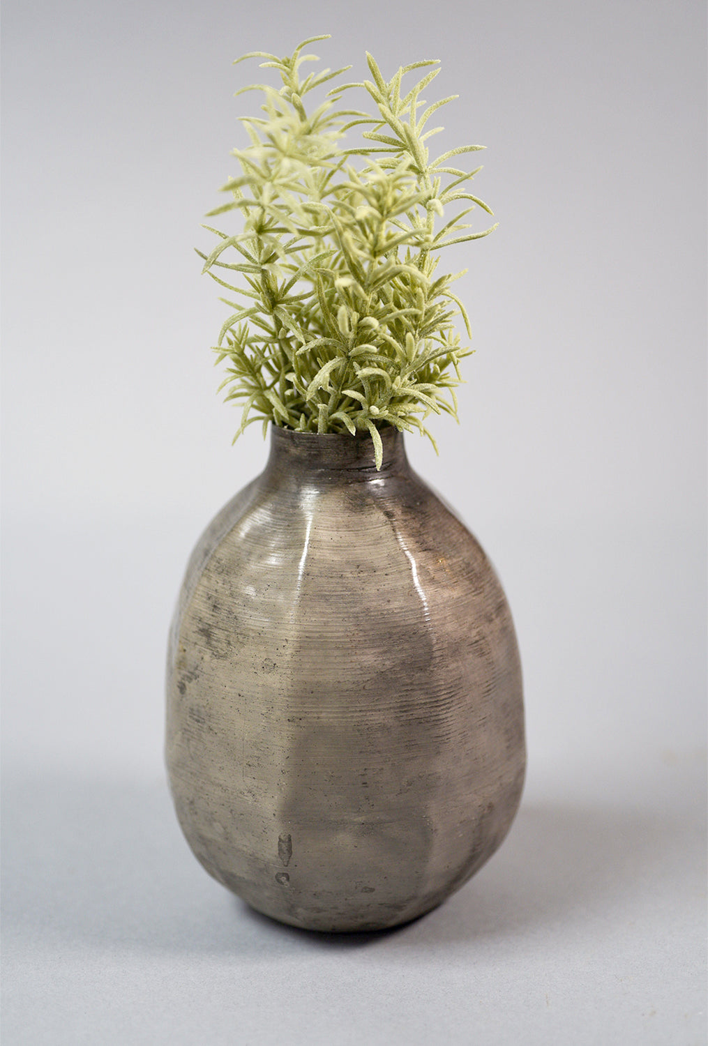 Iron Vase, Small, Antique Silver