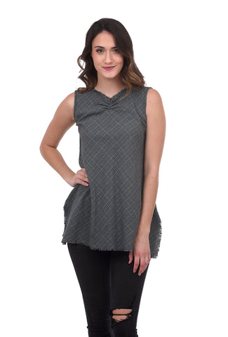 CA Plaid Tunic, Stone