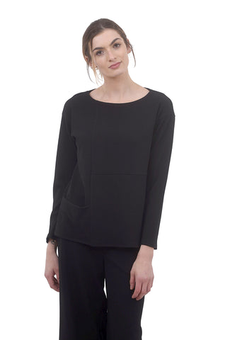 Sandy Front Pocket Top, Black