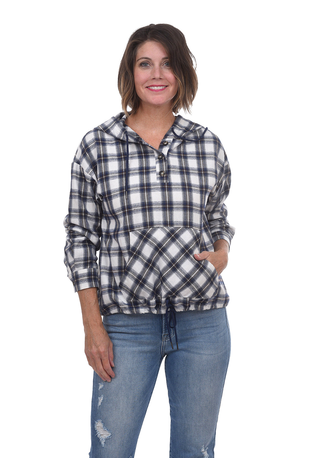 Plaid Hooded Flannel Shirt, Blue