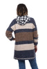 Boucle Yarn Stripe Sweater, Blue/Rust